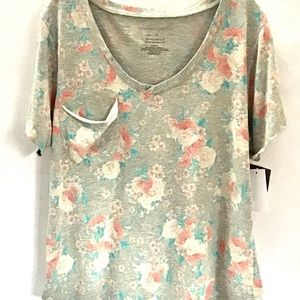 New Grayson Threads Pink Floral Grey Top